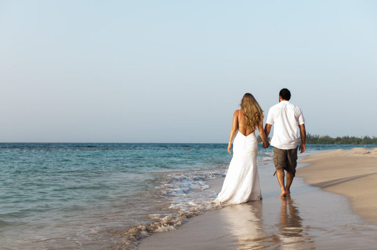 Beach wedding sunset Jamaica Runaway Bay wedding Photography