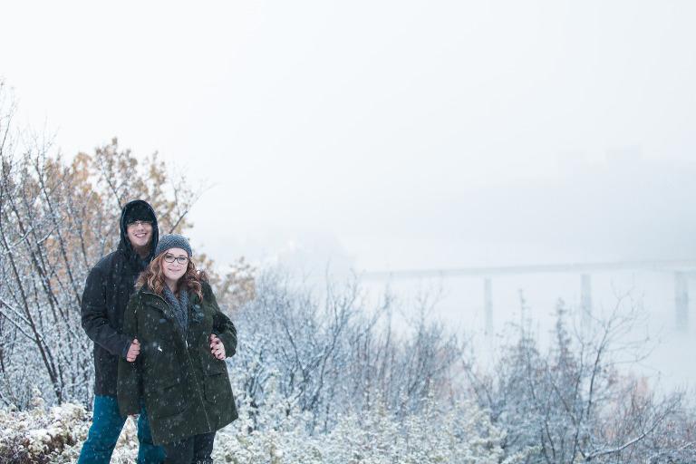 Snowy Edmonton Engagement Session