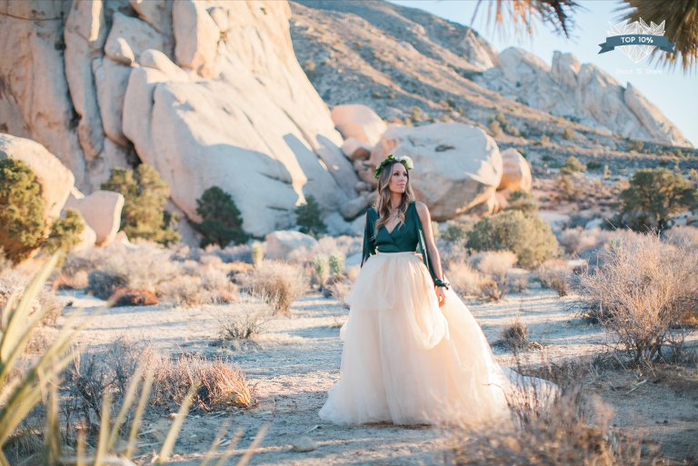Joshua Tree Photography Portrait Anniversary Session Flower Crown